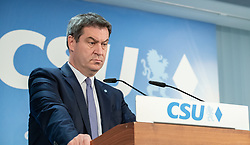 April 29, 2019 - Munich, Bavaria, Germany - Markus Soeder during a press conference, in Munich, Germany, on April 29, 2019. The Christian Social Union ( CSU ) held a press conference, where they talked about how the party will manage the future. (Credit Image: © Alexander Pohl/NurPhoto via ZUMA Press)