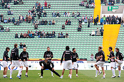 Josip Ilicic, Armin Bacinovic  of Palermo during warming up prior to football match between Udinese Calcio and Palermo in 8th Round of Italian Seria A league, on October 24, 2010 at Stadium Friuli, Udine, Italy.  Udinese defeated Palermo 2 - 1. (Photo By Vid Ponikvar / Sportida.com)
