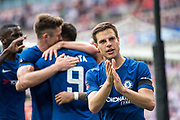 Chelsea (28) César Azpilicueta, celebrate goal during the The FA Cup match between Chelsea and Southampton at Wembley Stadium, London, England on 22 April 2018. Picture by Sebastian Frej.
