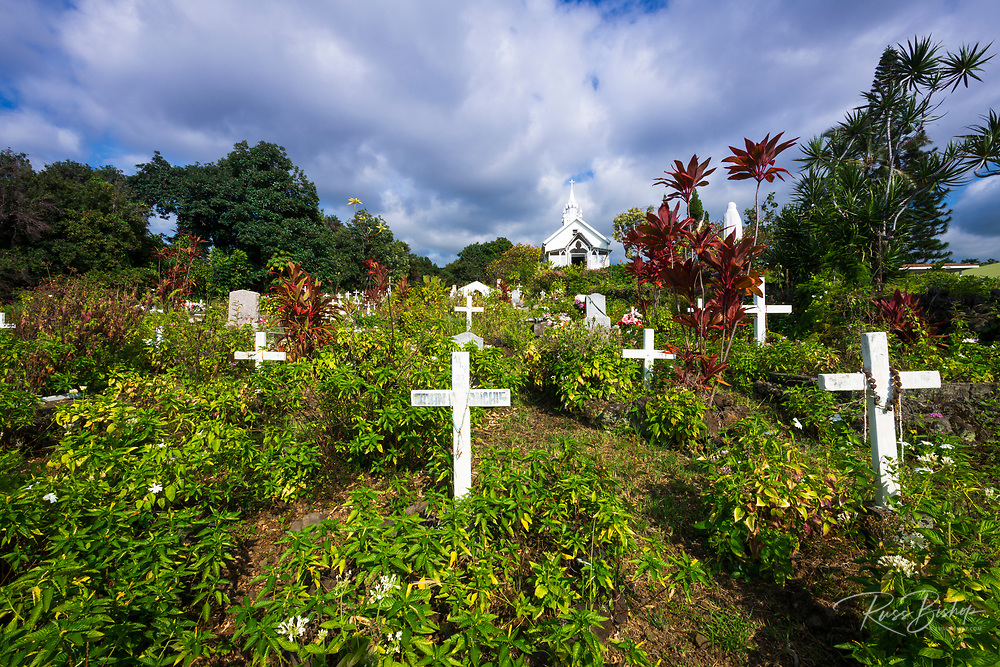 Cemetery at St. Benedict's Painted Church, Captain Cook, The Big Island, Hawaii USA