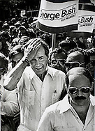 George H. W. Bush walks along Calle Ocho in Miami's Little Havana seeking support from the Cuban community in the Florida presidential primary, March 10, 1980.