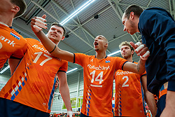 09-06-2019 NED: Golden League Netherlands - Spain, Koog aan de Zaan<br /> Fourth match poule B - The Dutch beat Spain again in five sets in the European Golden League / /ne<br /> 16/, Nimir Abdelaziz #14 of Netherlands, Michael Parkinson #17 of Netherlands, Wessel Keemink #2 of Netherlands