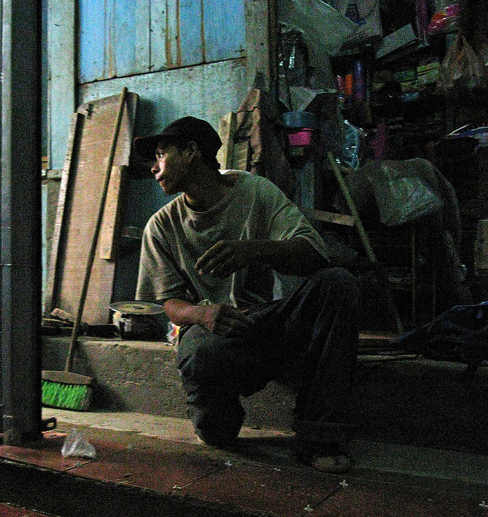 Mason at work in the central market of Granada, Nicaragua in 2008.