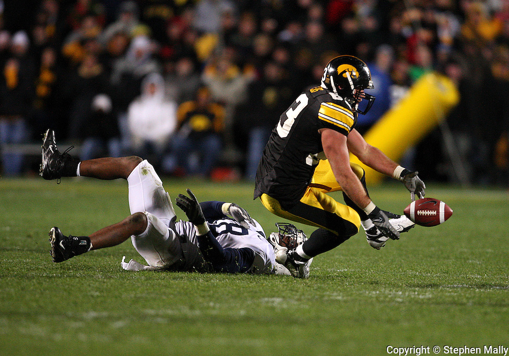 08 NOVEMBER 2008: Iowa tight end Brandon Myers (83) can't hang onto a pass in the second half of an NCAA college football game against Penn State, at Kinnick Stadium in Iowa City, Iowa on Saturday Nov. 8, 2008. Iowa beat Penn State 24-23.