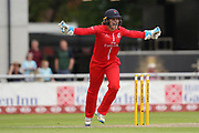 Lancashire Thunders Ellie Threlkeld (Wicket Keeper) big shot during the Women's Cricket Super League match between Lancashire Thunder and Surrey Stars at the Emirates, Old Trafford, Manchester, United Kingdom on 7 August 2018.