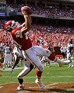Tight end Tony Gonzalez #88 of the Kansas City Chiefs catches a 10-yard touchdown pass in the fourth quarter against the Denver Broncos at Arrowhead Stadium in Kansas City, Missouri on September 28, 2008.....