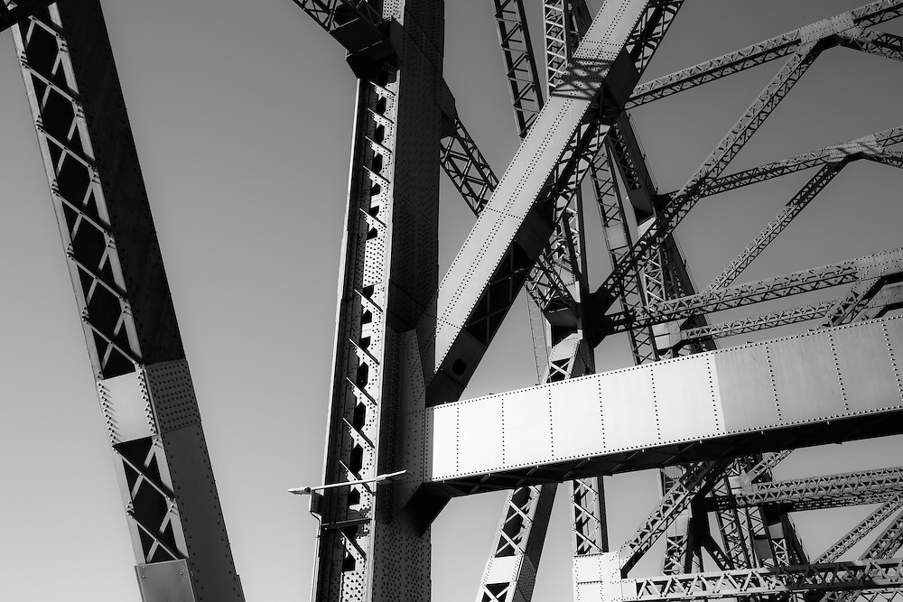 Detail of the metal Story Bridge framework. Brisbane.