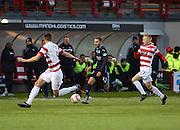 Dundee's Martin Boyle runs at Hamilton's Mikey Devlin -  Hamilton Academical v Dundee, SPFL Premiership at New Douglas Park<br /> <br />  - &copy; David Young - www.davidyoungphoto.co.uk - email: davidyoungphoto@gmail.com