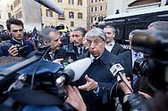 Roma 20 Aprile 2013.Proteste davanti a Montecitorio  del Movimento Cinque Stelle  per la rielezione di Giorgio Napolitano alla Presidenza della Repubblica . Carlo Giovanardi,  senatore del Pdl