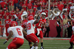 19 September 2009: A key block by Cal McCarthy gives quarterback Matt Brown sufficient time to get off a pass in a game which the Austin Peay Governors were defeated 38-7 by the Illinois State Redbirds at Hancock Stadium on campus of Illinois State University in Normal Illinois