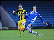 Stuart Beavon, Jim McNulty during the Sky Bet League 1 match between Rochdale and Burton Albion at Spotland, Rochdale, England on 30 January 2016. Photo by Daniel Youngs.