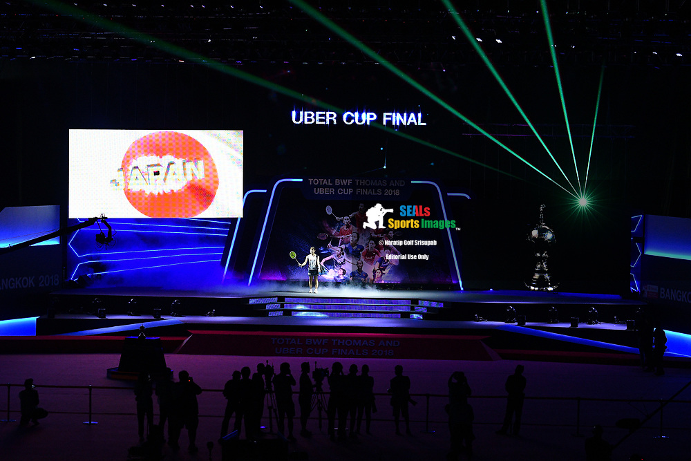 BANGKOK, THAILAND - MAY 26: Nozomi Okuhara of Japan on center stage for the Uber Cup Finals match against Nitchaon Jindapol of Thailand at the BWF Total Thomas and Uber Cup Finals 2018, Impact Arena , Bangkok, Thailand on May 26, 2018.<br /> .<br /> .<br /> .<br /> Photo by: Naratip Golf Srisupab/SEALs Sports Images<br /> <br /> .<br /> All photo must include a credit line adjacent to the content: Naratip Golf Srisupab/SEALs Sports Images