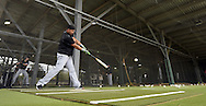 GLENDALE, ARIZONA - FEBRUARY 19:  Jose Abreu #72 of the Chicago White Sox hits in the batting cage during spring training workouts on February 19, 2017 at Camelback Ranch in Glendale Arizona.  (Photo by Ron Vesely). Subject:  Jose Abreu