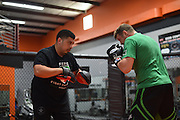 Chas Skelly trains with Tony Cabello in Pantego, Texas on July 7, 2015.