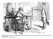 """Officer (to boy of thirteen who, in his effort to get taken on as a bugler, has given his age as sixteen). """"Do you know where boys go who tell lies?"""" Applicant. """"To the front, sir."""" (a WW1 cartoon shows a boy in an army recruitment office)"""