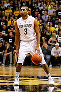November 16th, 2013:  Colorado Buffaloes sophomore guard Xavier Talton (3) handles the ball in the second half of the NCAA Basketball game between the Jackson State Tigers and the University of Colorado Buffaloes at the Coors Events Center in Boulder, Colorado