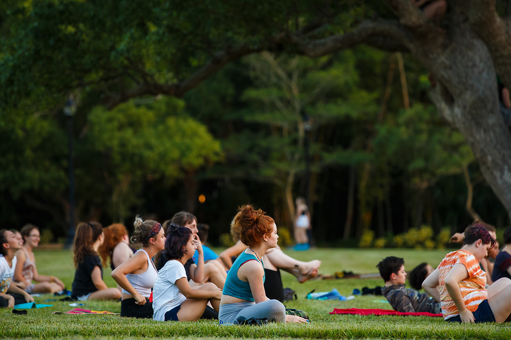 New College of Florida students practice yoga by the Bayfront at New College of Florida for the 2017-2018 academic year in Sarasota, Fla., on Monday, August 21, 2017. / (August 21, 2017; Photo by Casey Brooke Lawson)