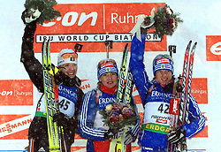 Eva Tofalvi (2nd place), Albina Akhatova (1st place) and Svetlana Sleptsova (3rd place) at Women 15 km Individual at E.ON Ruhrgas IBU World Cup Biathlon in Hochfilzen (replacement Pokljuka), on December 18, 2008, in Hochfilzen, Austria. (Photo by Vid Ponikvar / Sportida)