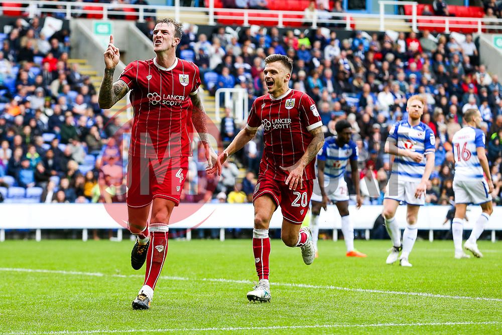 Aden Flint of Bristol City celebrates scoring a goal to make it 0-1 - Rogan/JMP - 09/09/2017 - Madejski Stadium - Reading, England - Reading v Bristol City - Sky Bet Championship.