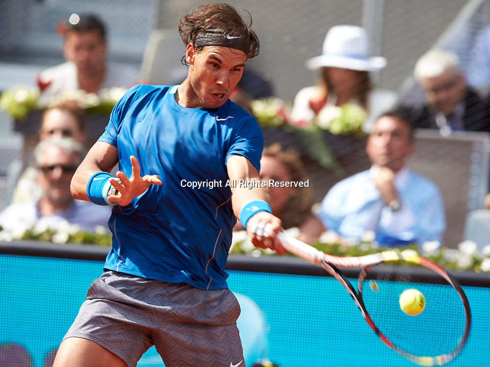 08.05.2014 Madrid, Spain. Rafael Nadal of Spain forehand during the game with Jarkko Nieminen of Finland on day 5 of the Madrid Open from La Caja Magica.