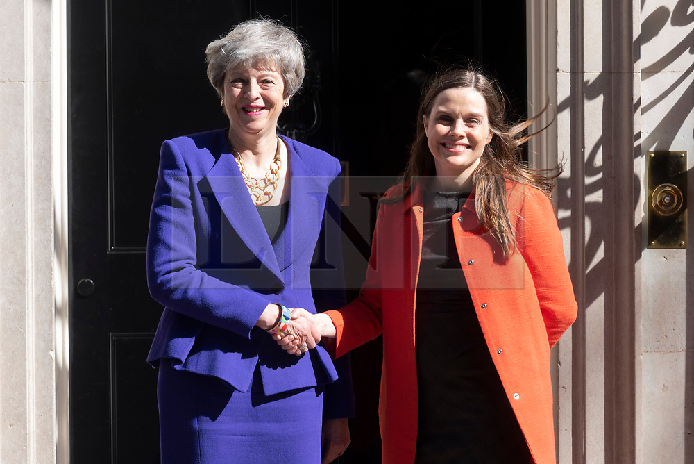 © Licensed to London News Pictures. 02/05/2019. London, UK. British Prime Minister Theresa May (L) meets Prime Minister of Iceland Katrin Jakobsdottir (R) in No.10 Downing Street for talks. Photo credit: Ray Tang/LNP
