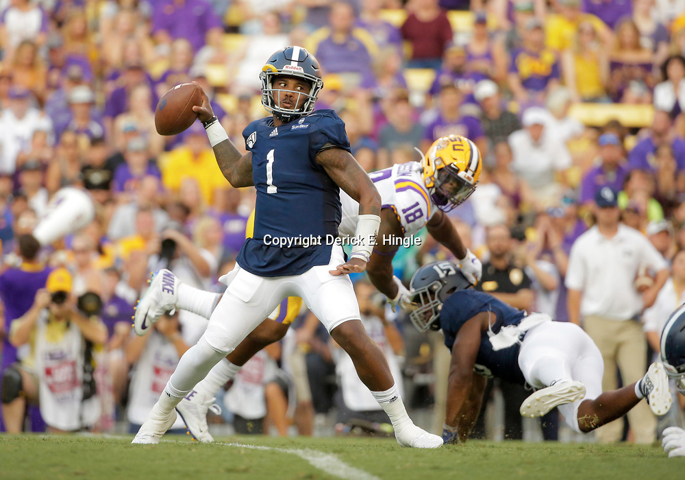 Aug 31, 2019; Baton Rouge, LA, USA; Georgia Southern Eagles quarterback Shai Werts (1) throws against the LSU Tigers during the first quarter at Tiger Stadium. Mandatory Credit: Derick E. Hingle-USA TODAY Sports