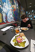 Berlin, Germany. Hackepeter (freshly hacked pig's meat) at the DDR Restaurant at the DDR museum. Culinary nostalgia for GDR fans.