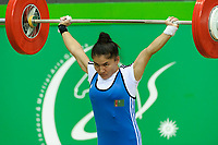 Ashgabat 2017 - 5th Asian Indoor & MartialArts Games 17-09-2017. Yulduz Jumabayewa (TKM) competes in the snatch competition