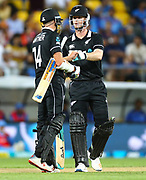 Black Caps Mitchell Santner & Jimmy Neesham during the Fifth ODI of the 2019 ANZ International ODI Series. Blackcaps v India at Westpac Stadium, Wellington, Sunday 3rd February 2019. © Copyright Photo: Grant Down / www.photosport.nz