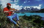 Violinist & climber  Vern Tejas, Lago Pehoe, Cuernos del Paine, Torres Del Paine National Park, Patagonia, Chile