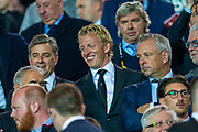 Former Feyenoord and Liverpool striker Dirk Kuyt is all smiles in the main stand before the Europa League match between Rangers FC and Feyenoord Rotterdam at Ibrox Stadium, Glasgow, Scotland on 19 September 2019.
