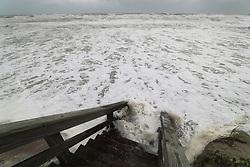 Waves brought by hurricane Dorian crash against the beach access stairs off Palmetto Avenue in Satellite Beach, on Tuesday, September 3, 2019 Photo by Ricardo Ramirez Buxeda/ Orlando Sentinel/TNS/ABACAPRESS.COM