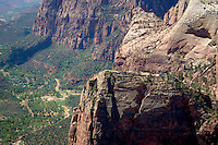 View of Angels Landing, Zion National Park, located in the Southwestern United States, near Springdale, Utah.