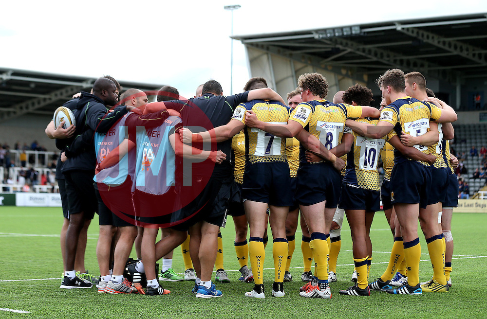 Worcester Warriors huddle at full time of their match against Sale Sharks - Mandatory by-line: Robbie Stephenson/JMP - 30/07/2016 - RUGBY - Kingston Park - Newcastle, England - Worcester Warriors v Sale Sharks - Singha Premiership 7s