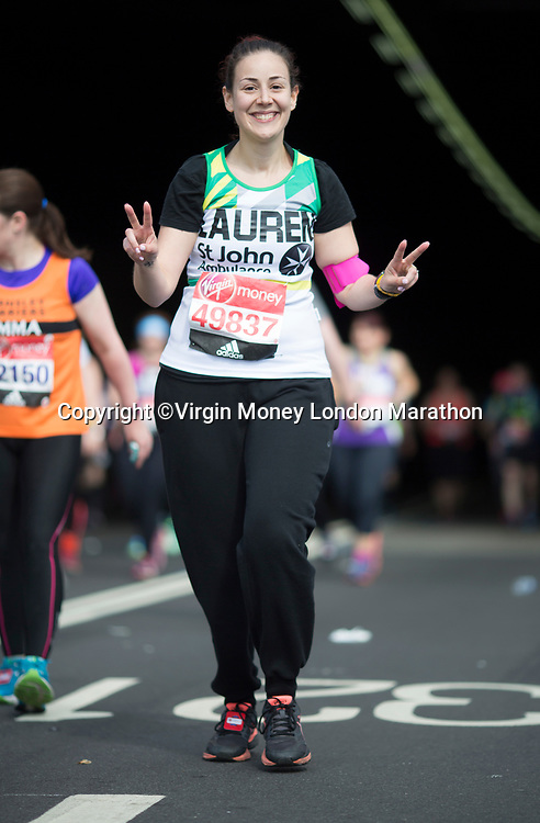 Lauren Xuereb smiles and makes the peace sign to the camera. The Virgin Money London Marathon, 23rd April 2017.<br /> <br /> Photo: Charlotte Wilson for Virgin Money London Marathon<br /> <br /> For further information: media@londonmarathonevents.co.uk