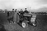 National Ploughing Championships at Tullow, Co. Carlow. Finalists in the Ireland Colleges Ploughing Competition (l-r): Richard Miller (winner); Edward Quigley; William A. Flannery; and John V. Rice..26.10.1967
