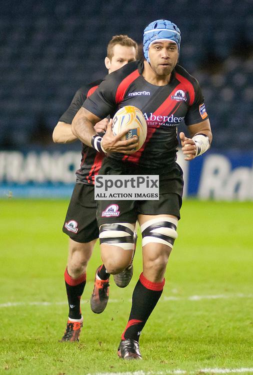 Netani Talei on the run,Edinburgh Rugby v Aironi, Rabodirect Pro12