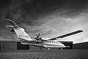 The Italian Piaggio P180 Avanti II, photographed on the ramp at Atlanta's Dekalb Peachtree Airport.