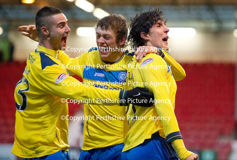 Dunfermline v St Johnstone..24.12.11   SPL <br /> Fran Sandaza celebrates his goal with Marcus Haber and Murray Davidson<br /> Picture by Graeme Hart.<br /> Copyright Perthshire Picture Agency<br /> Tel: 01738 623350  Mobile: 07990 594431