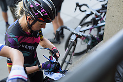 Trixi Worrack cleans her Oakleys ahead of the Amgen Breakaway from Heart Disease Women's Race empowered with SRAM (Tour of California) - Stage 4. A 20 lap criterium in Sacramento, USA on 14th May 2017.