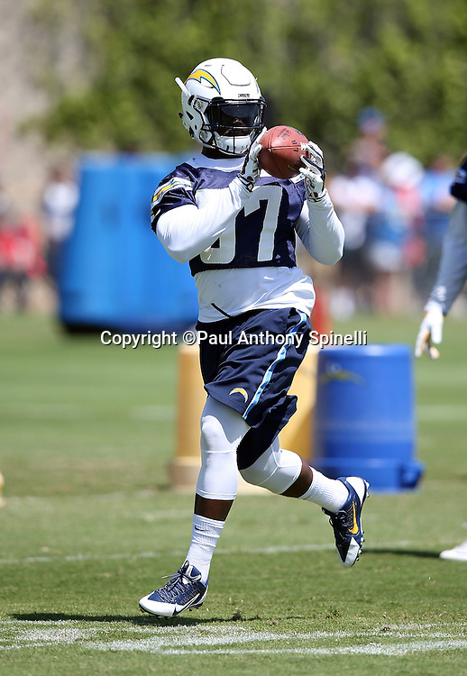 San Diego Chargers rookie linebacker Jatavis Brown (57) catches a pass during the Chargers 2016 NFL minicamp football practice held on Tuesday, June 15, 2016 in San Diego. (©Paul Anthony Spinelli)