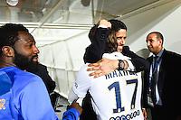 Joie PSG Champion - Maxwell / Nasser AL KHELAIFI - 16.05.2015 - Montpellier / Paris Saint Germain - 37eme journee de Ligue 1<br />Photo : Alexandre Dimou / Icon Sport