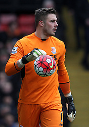 Jack Butland of Stoke City - Mandatory byline: Robbie Stephenson/JMP - 19/03/2016 - FOOTBALL - Vicarage Road - Watford, England - Crystal Palace v Leicester City - Barclays Premier League