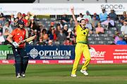 Wicket - Megan Schutt of Australia celebrates taking the wicket of Danielle Wyatt of England during the 3rd Vitality International T20 match between England Women Cricket and Australia Women at the Bristol County Ground, Bristol, United Kingdom on 31 July 2019.