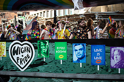 © Licensed to London News Pictures . 24/08/2019. Manchester, UK. Wigan Pride float . The 2019 Manchester Gay Pride parade through the city centre , with a Space and Science Fiction theme . Manchester's Gay Pride festival , which is the largest of its type in Europe , celebrates LGBTQ+ life . Photo credit: Joel Goodman/LNP