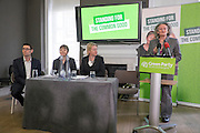 © Licensed to London News Pictures. 24/02/2015. London, UK. (L-R) Darren Hall, PCC for Bristol West, Caroline Lucas, MP for Brighton Pavillion,  Natalie Bennet, Leader of the Green Party, Jenny Jones AM Baroness Jones of Moulsecoomb.  The Green Party Campaign Launch ahead of the UK general election at RSA House in Central London today 24th February 2015. Photo credit : Stephen Simpson/LNP