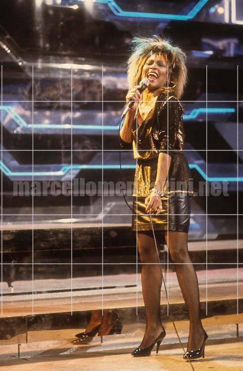 American pop-rock-soul singer Tina Turner performing at Sanremo Italian Song Festival 1990 / La cantante Tina Turner al Festival di Sanremo 1990 - © Marcello Mencarini