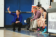 North Country head coach Christiane Brown calls a pay to her team on the court during the girls basketball game between the North Country Falcons and the Mount Mansfield Cougars at MMU high school on Monday night February 15, 2016 in Jericho. (BRIAN JENKINS/for the FREE PRESS)