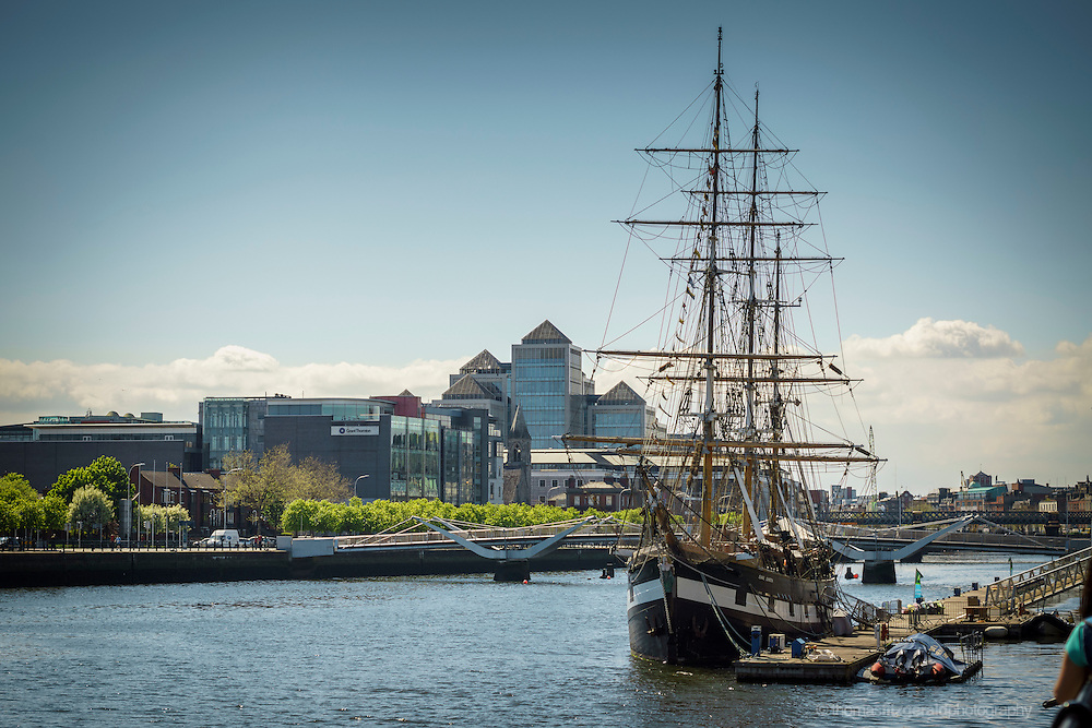 "2013: Dublin, Ireland. An image of the Tall Ship, ""The Jeanie Johnston"" docked by the side of the liffey as we look westward across the river"