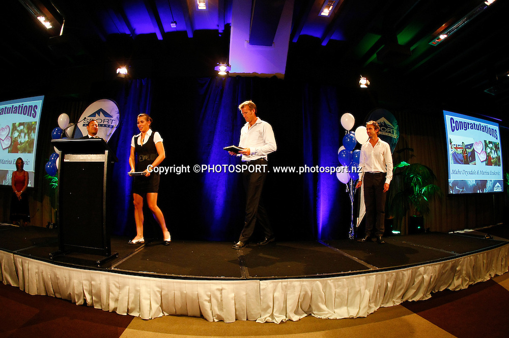 Supreme Award winners Marina Erakovic and Mahe Drysdale. Presented by Hamis Carter. Sport Auckland Sporting Excellence Awards, 11 December 2008. Tasman Room, Alexandra Park Function Centre, Auckland, New Zealand. Photo: Simon Watts/PHOTOSPORT